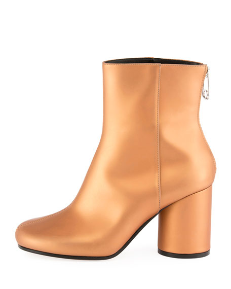 Metallic Leather Cylinder-Heel Bootie, Brown