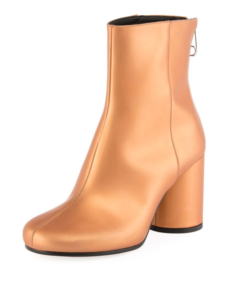 Maison Margiela Metallic Leather Cylinder-Heel Bootie, Brown
