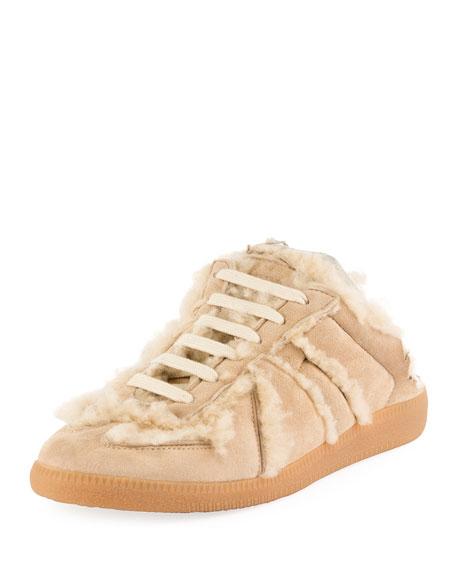 Sheepskin Fur Sneaker-Style Mule, Beige