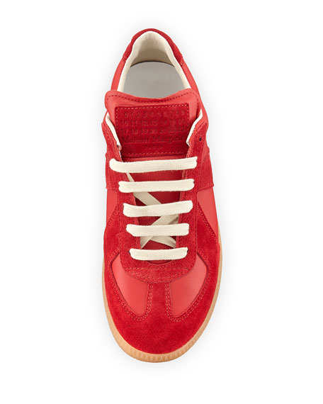 Mixed Leather Low-Top Lace-Up Sneaker