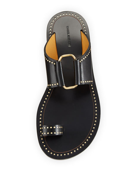 Jeppy Flat Studded Leather Sandals, Black/Dore