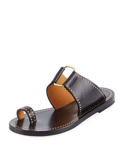 Jeppy Flat Studded Leather Sandal, Black/Dore