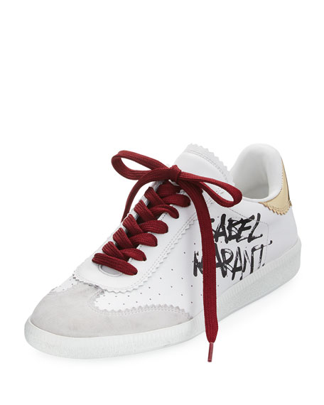 Isabel Marant Bryce Lace-Up Logo-Print Sneaker, White