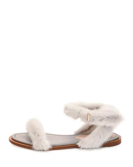 Flat Mink Fur Ankle-Wrap Sandal