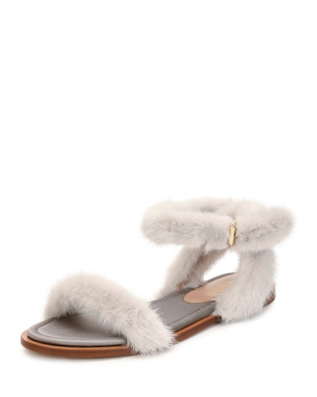 Valentino Garavani Flat Mink Fur Ankle-Wrap Sandal