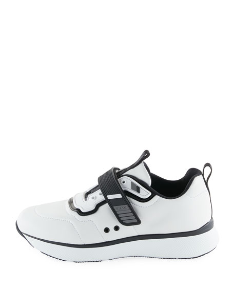 Leather Grip-Strap Sneakers, White