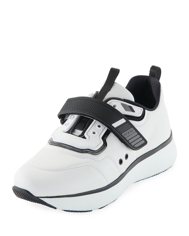 Prada Linea Rossa Leather Grip-Strap Sneakers, White ...