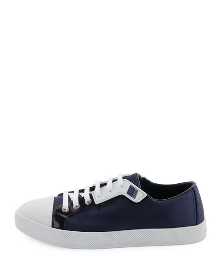 Satin Lace-Up Two-Tone Low-Top Sneakers