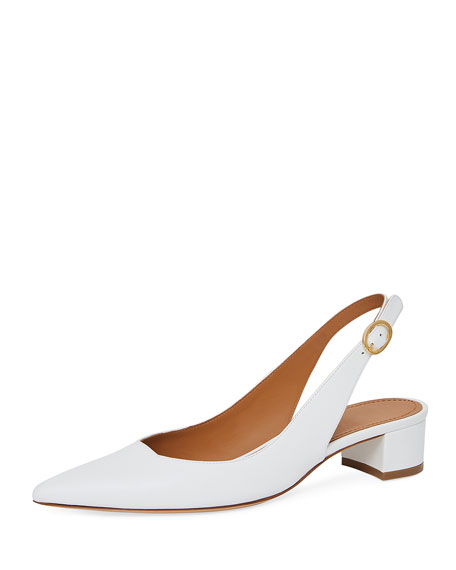 Smooth Leather Slingback Pump, White