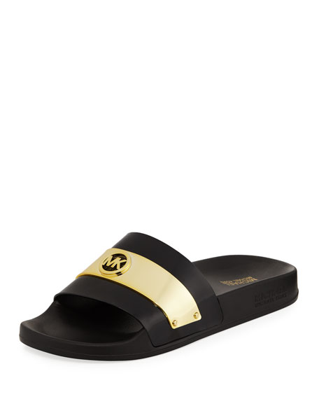 91602ffe77fd Buy michael kors slippers black   OFF60% Discounted