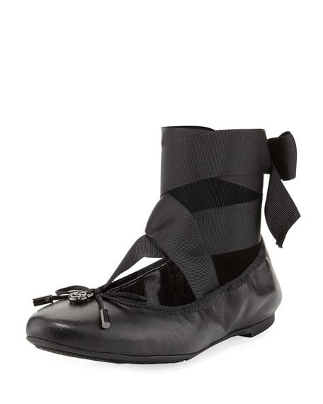 MICHAEL Michael Kors Myles Ankle-Wrap Ballerina Flat, Black
