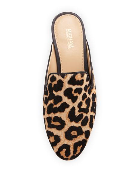 Natasha Cheetah-Print Calf-Hair Mule, Natural
