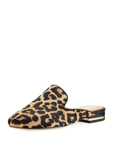 Natasha Cheetah-Print Calf-Hair Mule, Natural
