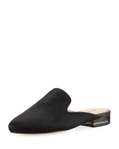 Natasha Calf-Hair Mule, Black