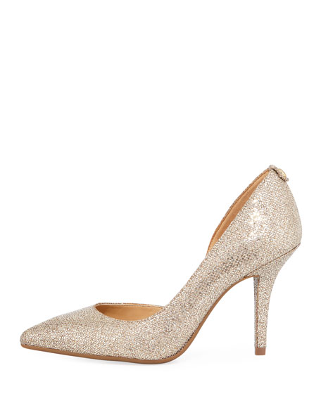 Nathalie Flex Asymmetric Glitter Pump, Silversand
