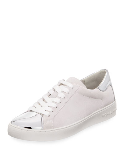 Frankie Suede & Metallic Sneaker, Optic Silver