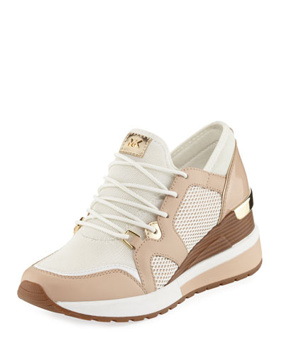 Scout Mixed-Mesh Wedge Trainer Sneaker, White Oyster