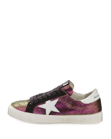 May Crackled Low-Top Sneaker, Purple Metallic