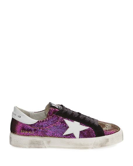 May Crackled Low-Top Sneakers, Purple Metallic