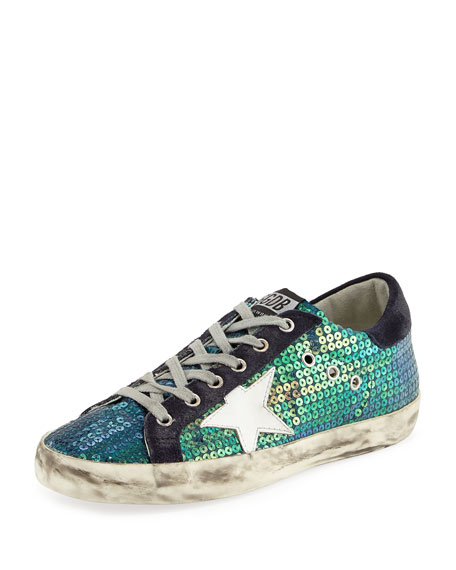 Golden Goose Superstar Fabric/Leather Low-Top Sneaker, Blue