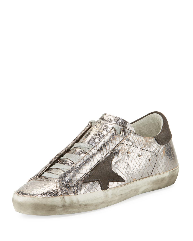 aed0d739dd601 Golden Goose Superstar Snake-Embossed Metallic Low-Top Sneaker ...