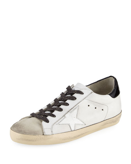 Golden Goose Superstar Leather Low-Top Sneaker, White/Black