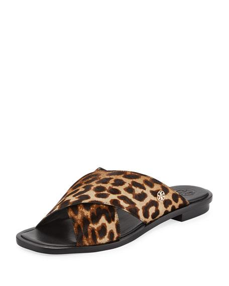 Tory Burch Gemma Leopard Crisscross Slide Flat Sandal