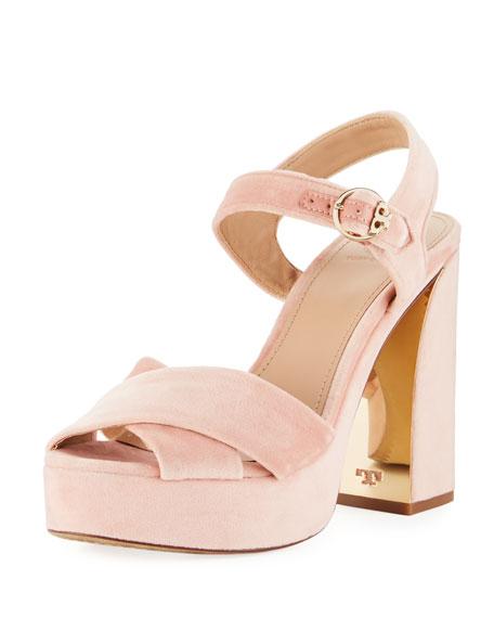 buy good detailed pictures coupon codes Tory Burch Loretta Velvet Platform Sandal, Light Pink | Neiman Marcus
