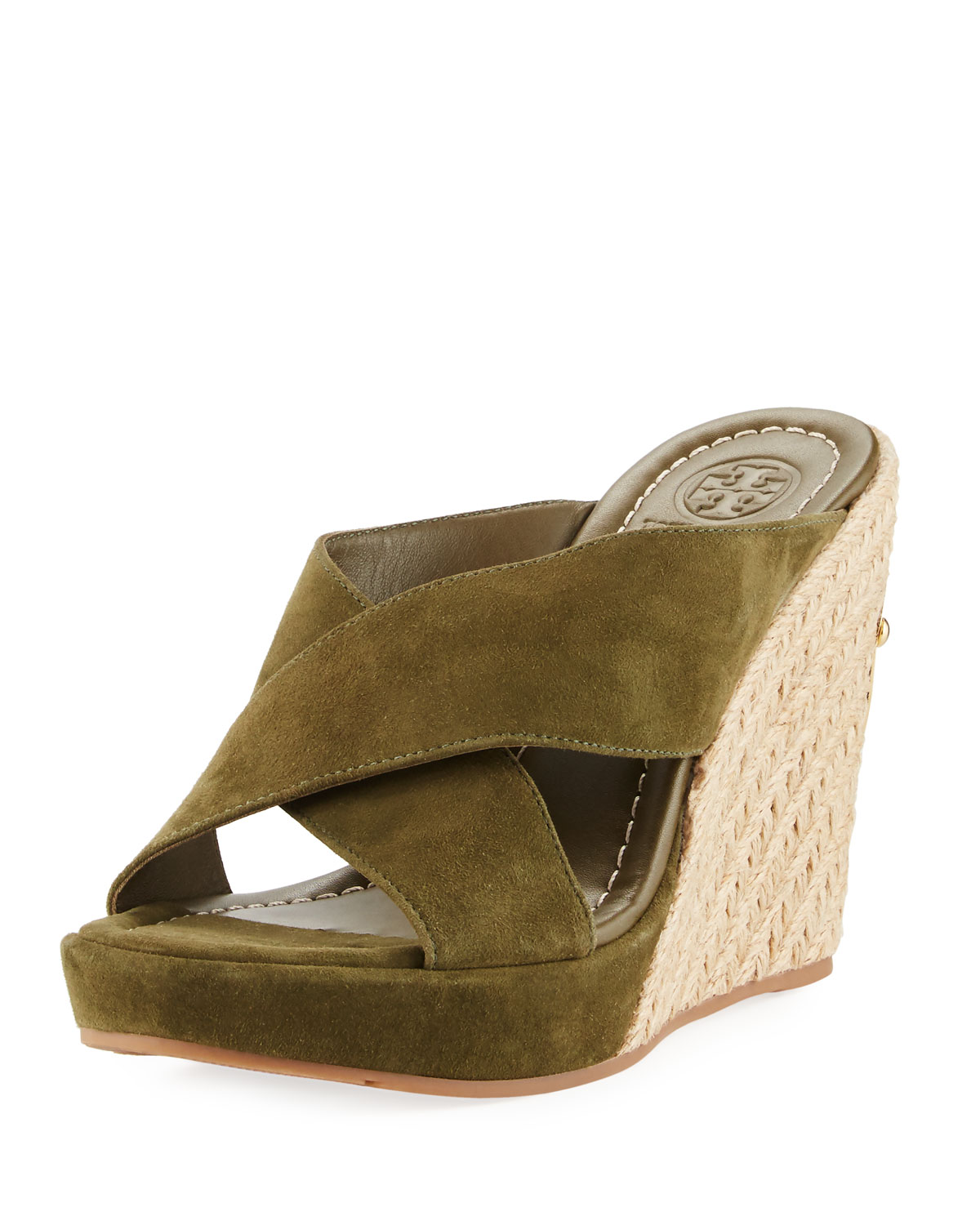 347a9fae02 Tory Burch Bailey Suede Platform Wedge Mule Sandal | Neiman Marcus