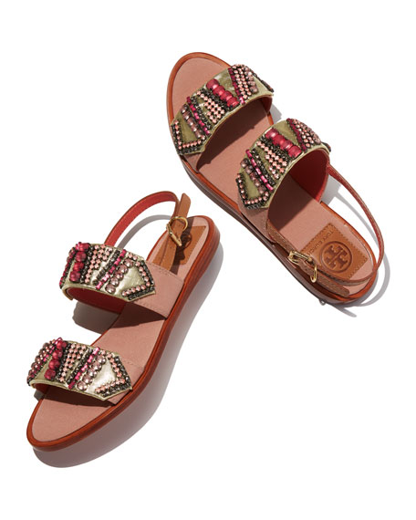 Tanner Jeweled Flat Sandal