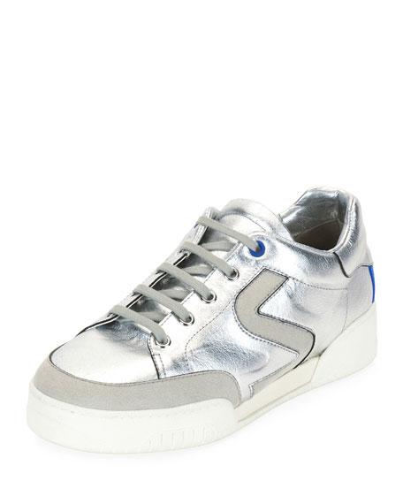 Stella McCartney Metallic Lace-Up Low-Top Sneaker, Silver