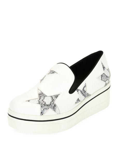 Stella McCartney Binx Stars Platform Skate Sneaker, White/Black