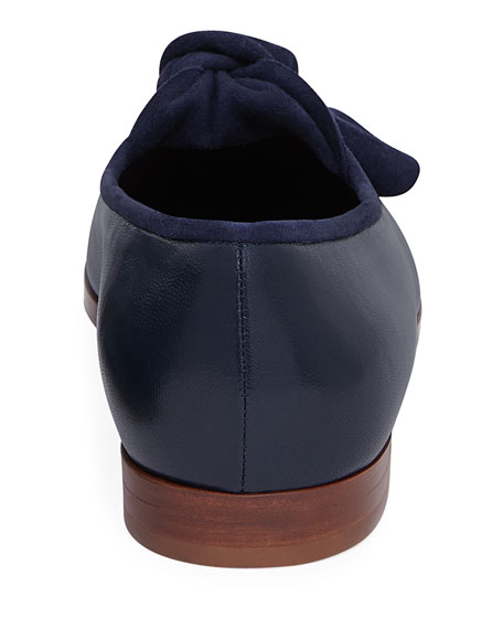 Mixed Leather Bow Flat Loafer, Blue