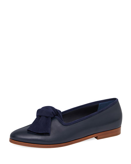Mansur Gavriel Mixed Leather Bow Flat Loafer, Blue