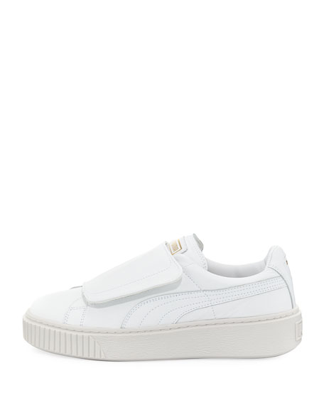 Basket Wide-Strap Platform Sneakers, White