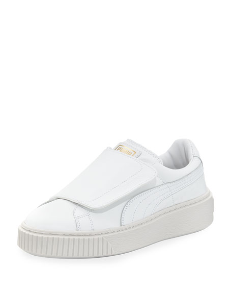 Puma Basket Wide-Strap Platform Sneakers, White