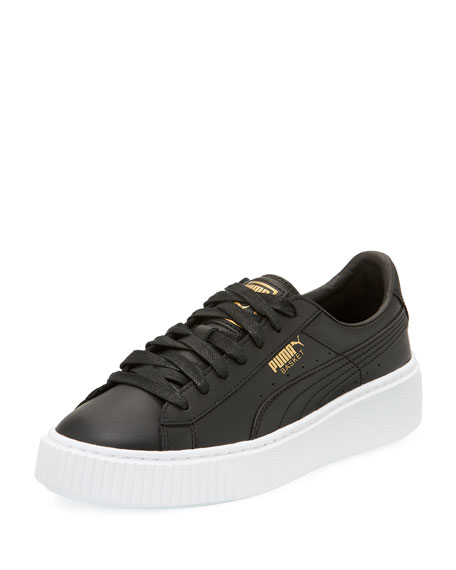 Puma Basket Leather Platform Sneaker, Black