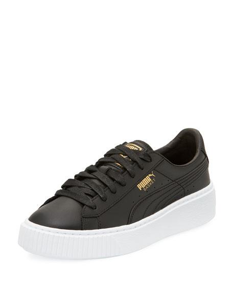 black puma basket leather