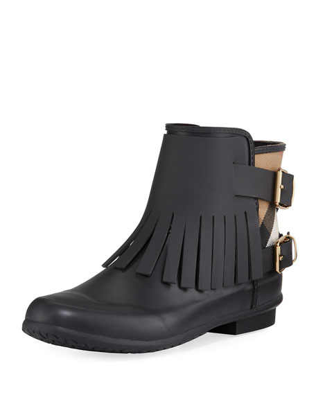 Burberry Fritton Fringed Rubber Rain Bootie