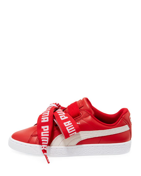 Basket Heart Leather Sneaker, Red