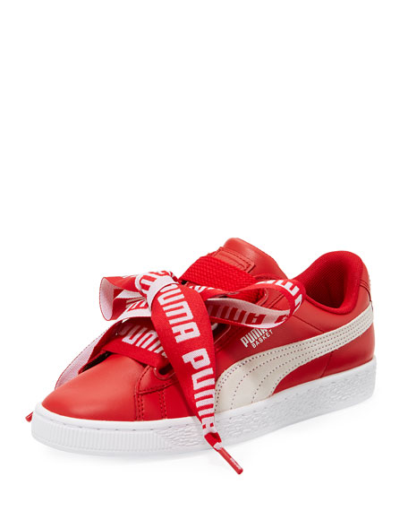 Puma Basket Heart Leather Sneaker, Red