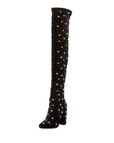 Cosmic Over-The-Knee Velvet Boot, Black