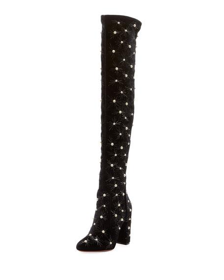 Cosmic Over-The-Knee Velvet Boot, Black