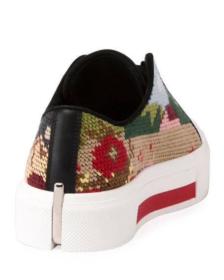 Needlepoint Platform Low-Top Sneaker