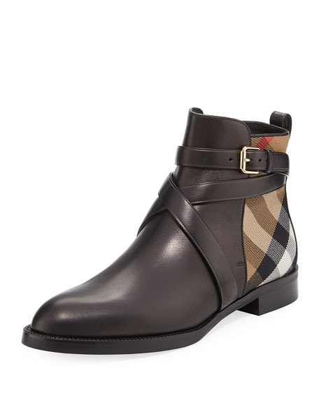 Burberry Vaughan Flat Check/Leather Ankle Boot