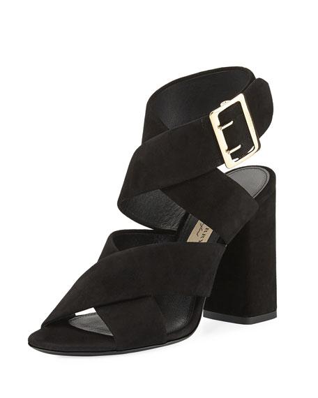 Burberry Blaine Suede Crisscross Sandal