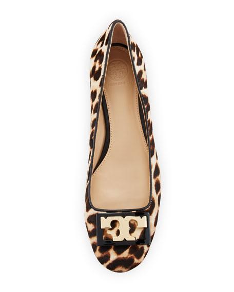 Gigi Calf-Hair Logo 25mm Pump, Leopard