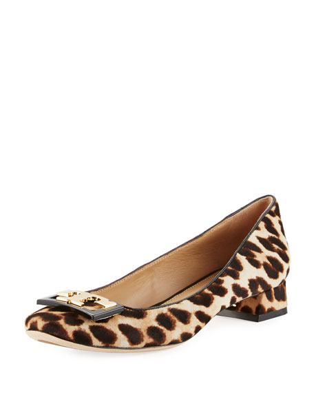 Tory Burch Gigi Calf-Hair Logo 25mm Pump, Leopard