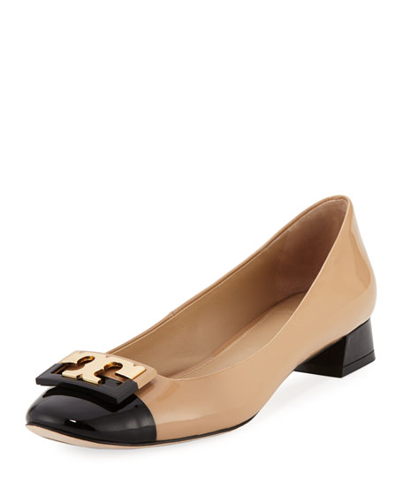 Gigi Colorblock Logo 25mm Pump, Beige/Black