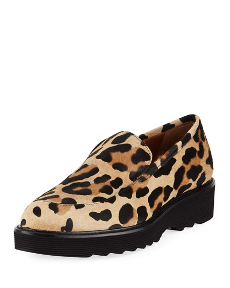 Aquatalia Kelsey Metallic Leopard Calf Hair Loafer